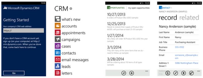 Microsoft Dynamics CRM 2013 smartphone