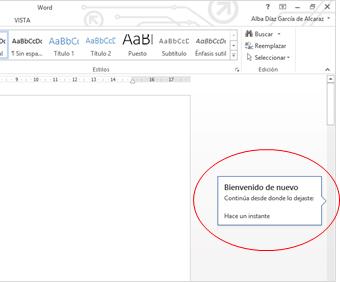 """La bandera de """"Retoma donde lo dejaste"""" en Word 2013."""