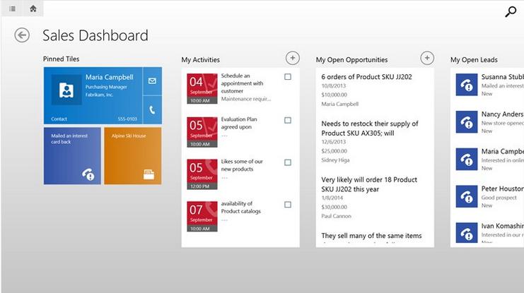 CRM en tablet Windows 8