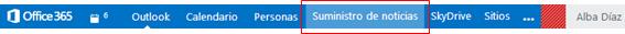Suministro de noticias en Office 365.
