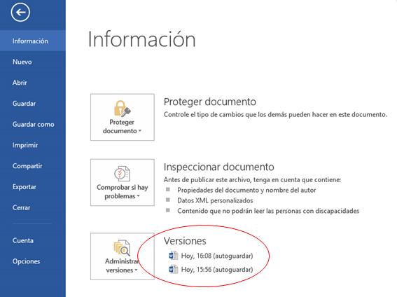 Versiones previas de Word, Excel y PowerPoint