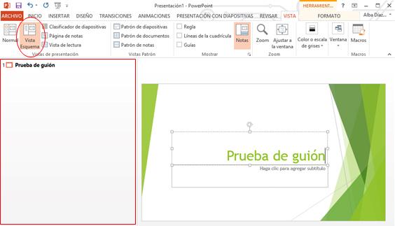 Vista de Esquema en PowerPoint.