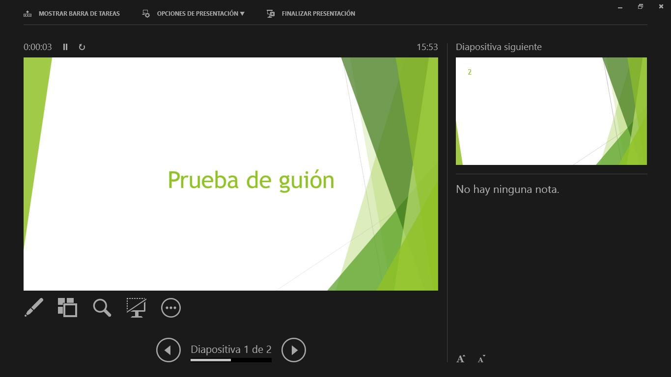 Vista de Presentación en PowerPoint.
