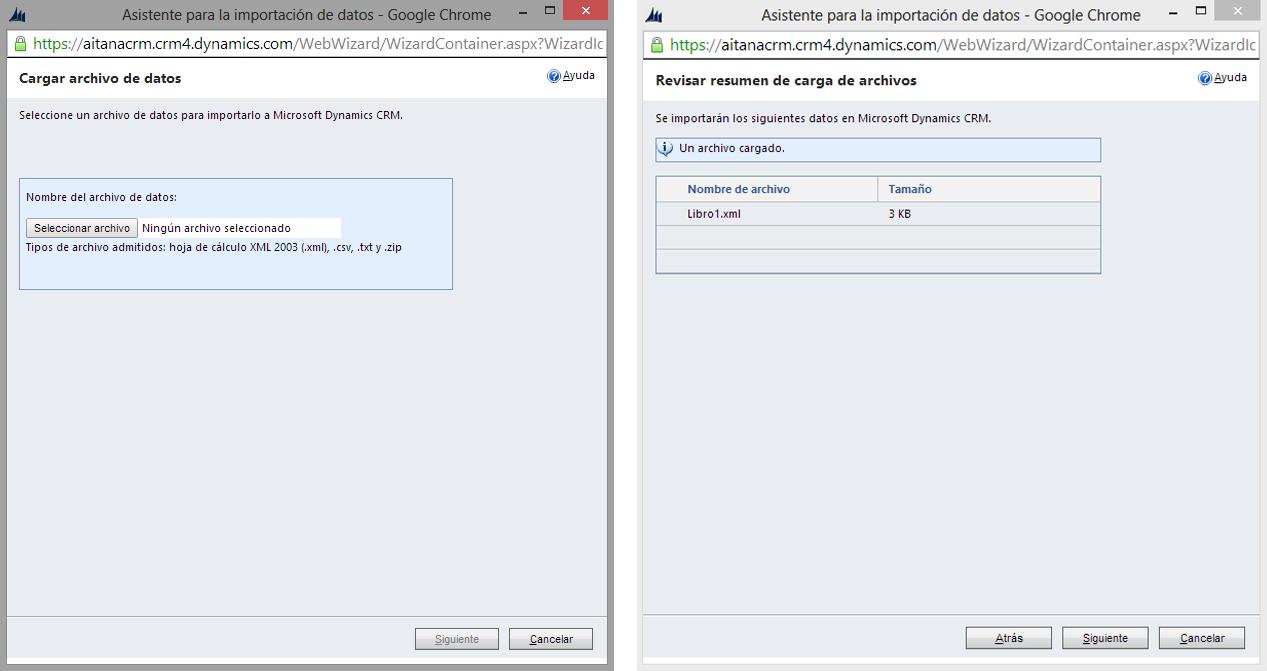 Importar contactos en Microsoft Dynamics CRM