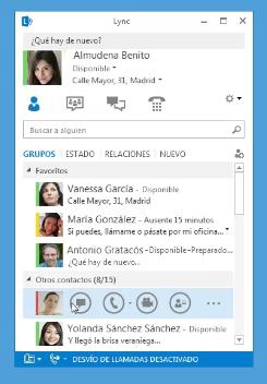 Tipos de comunicación en Lync