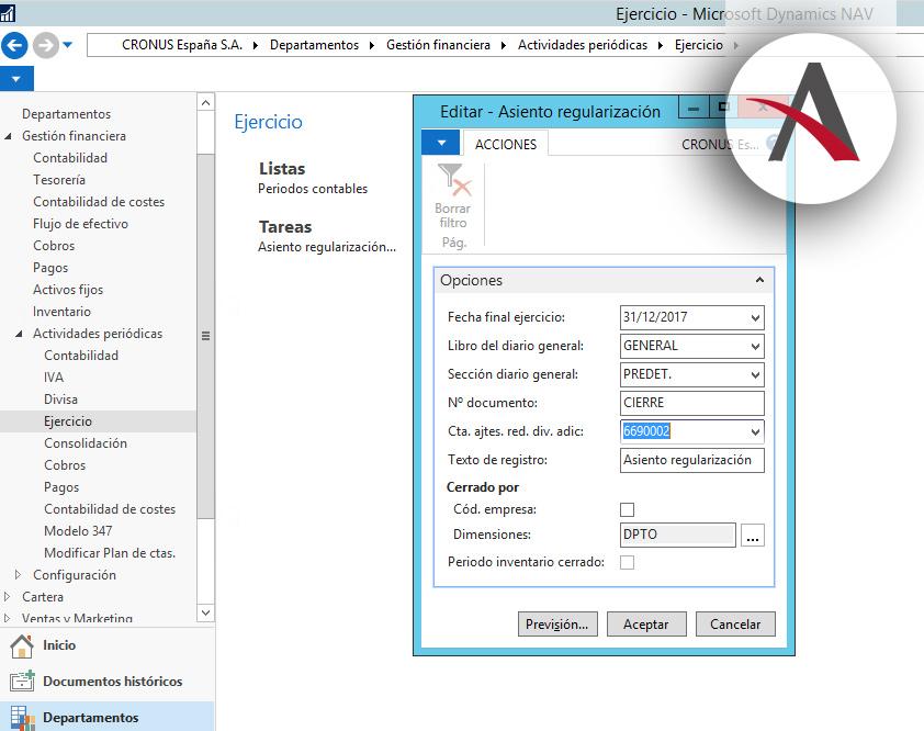 Cierre del ejercicio con Microsoft Dynamics NAV