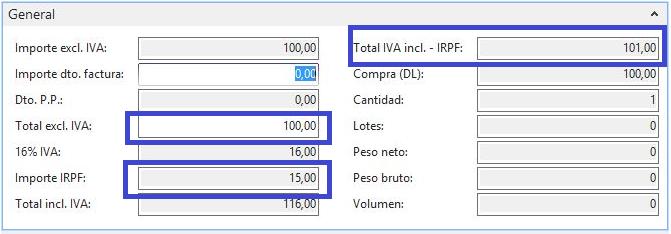 cálculo IRP idynamics de Dynamics NAV
