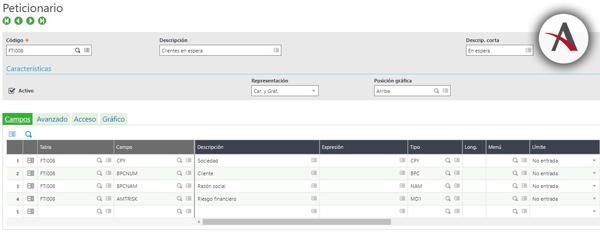 Peticionarios, tipos de consultas en Sage Enterprise Management