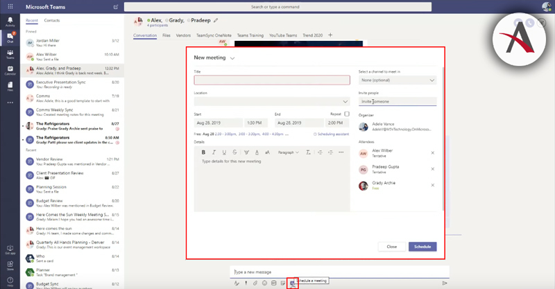 Programar reunión en Microsoft Teams desde chat