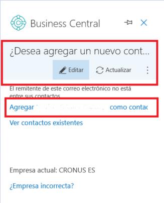 Business Central desde Outlook - Creación de nuevo contactos y clientes