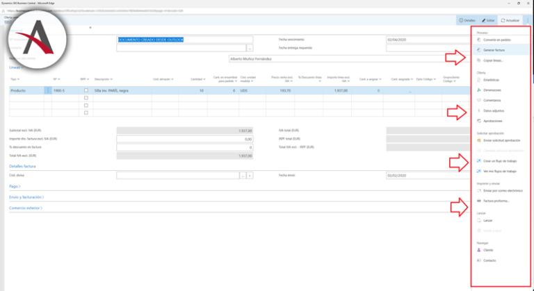 Business Central desde Outlook - Creación de presupuestos en pedidos