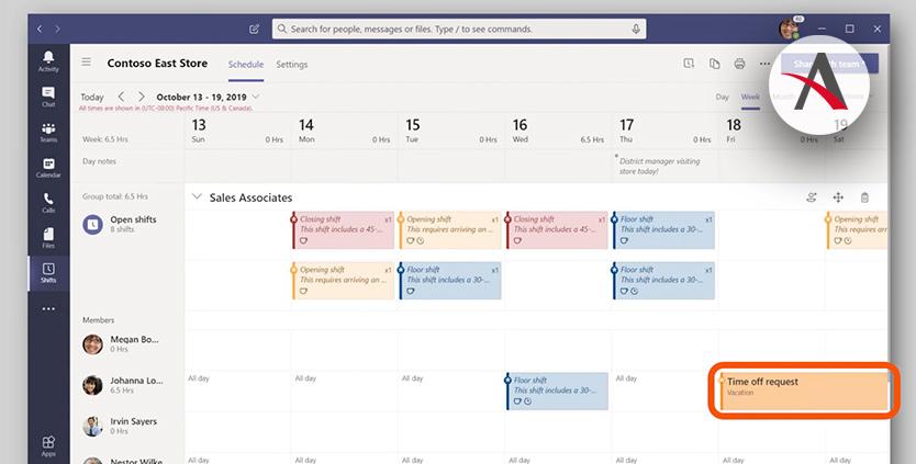 Integración de Kronos con los turnos de Microsoft Teams · Novedades Office 365 marzo