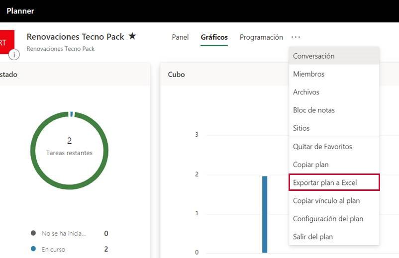 Exportar plan a Excel desde Microsoft Planner