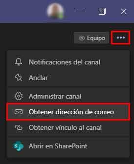 Obtener dirección de correo de un canal en Microsoft Teams