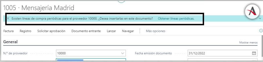 configurar las líneas de compras periódicas en Business Central - Creacion documento - Preguntar siempre
