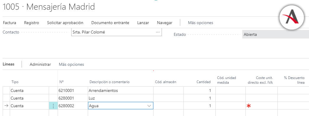 configurar las líneas de compras periódicas en Business Central - Creacion documento - Todos datos