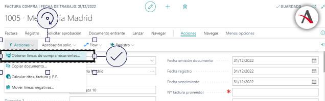 configurar las líneas de compras periódicas en Business Central - Creacion documento - Caso lineas manual