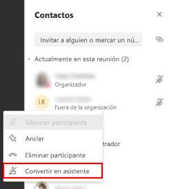 Convertir un asistente en moderador de una reunión en Microsoft Teams