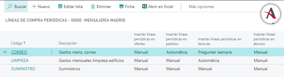 configurar las líneas de compras periódicas en Business Central - Creacion documento - Opcion