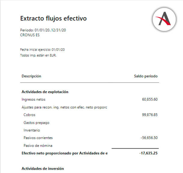 Extractos de flujo de efectivo en Business Central