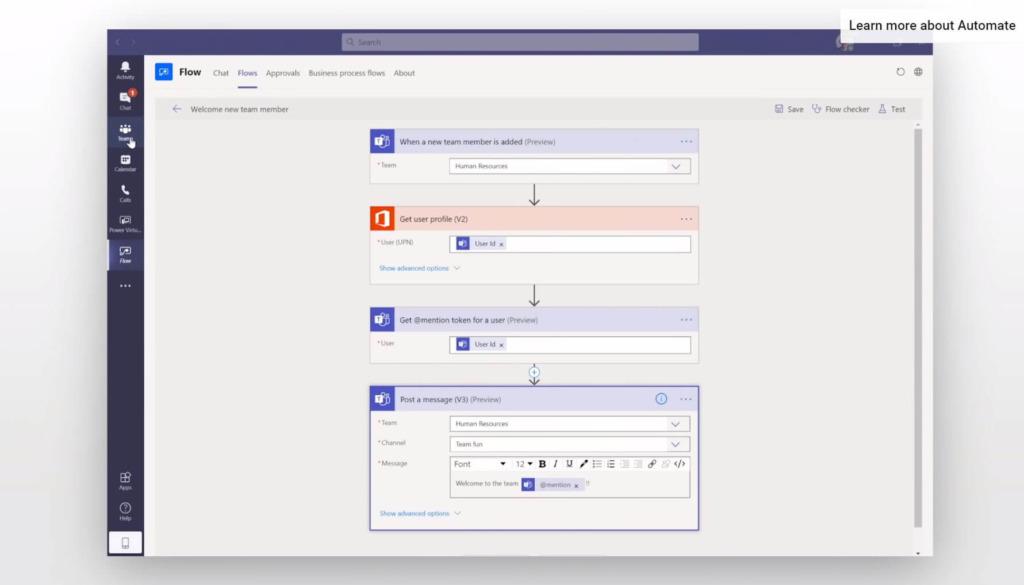 Flujo de Microsoft Power Automate en Microsoft Teams
