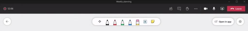 Microsoft 365 agosto - whiteboard barra herramientas