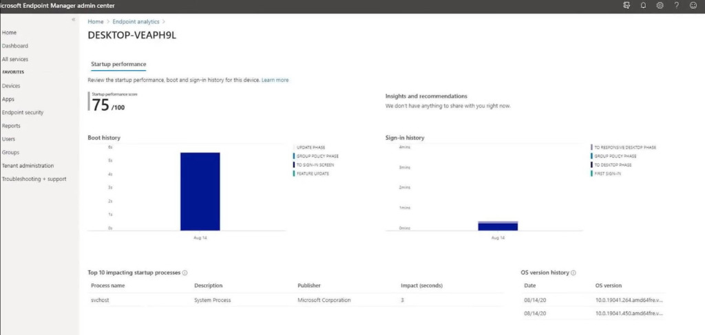 Microsoft Endpoint Manager - Endpoint Analytics 3