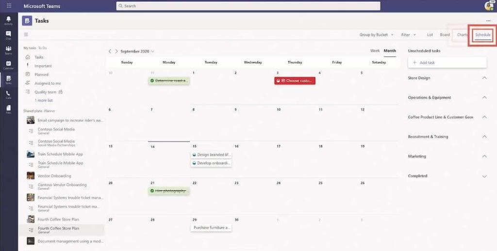 Vista Calendario de Tareas en Microsoft Teams