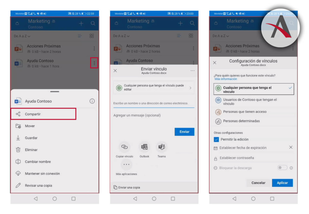 colaborar-remoto-teams-onedrive-desde-movil-compartir-documento-onedrive