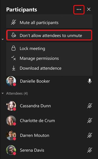No permitir que los asistentes se reactiven el micro en una reunión de Microsoft Teams