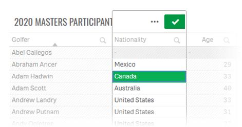 Filtrar participantes canada Golf 2020