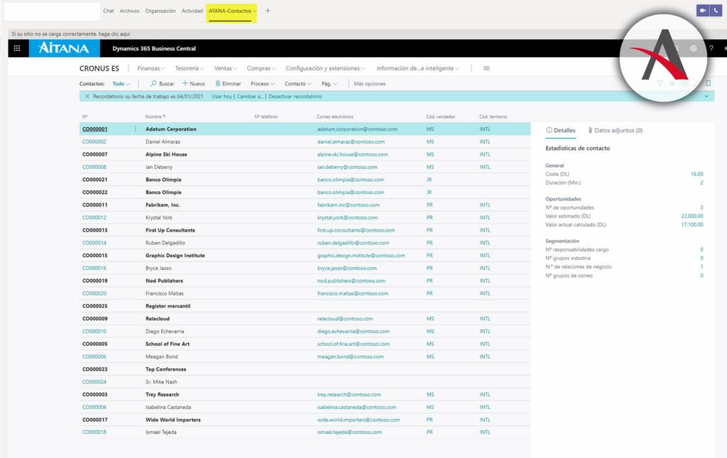 Pestana-de-Business-Central-en-Microsoft-Teams
