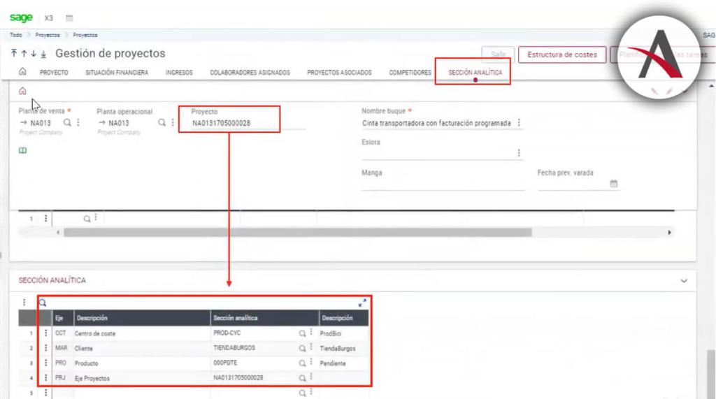 seccion analitica gestion de proyectos sage x3