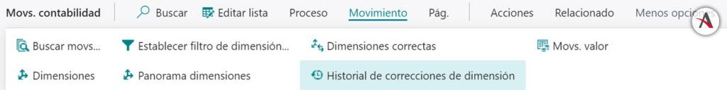 Historial-de-correcciones-de-dimension-business-central